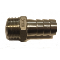 "1"" NPT x 1"" hose barb -  Stainless"