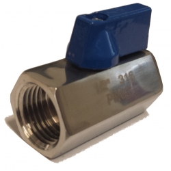"Mini Ball Valve - SS 1/2"" NPT FxF"