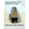 "1/2"" STAINLESS Quick Disconnect - Male x 1/2"" NPT FEMALE"